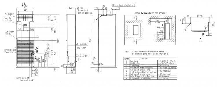 MITSUBISHI FLOOR STANDING FDF125CR-S 5.0HP - Floor Standing ...